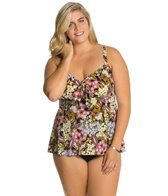 Penbrooke Plus Size Piccadilly Bow Front Fauxkini One Piece