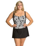 Penbrooke Plus Size Lady Lace Over The Shoulder Skater One Piece