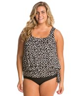 Penbrooke Plus Size Dots At Play Tie Side Blouson Top