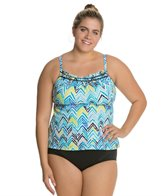 South Point Zig-Zaw Plus Size Pina Colada Tankini Top
