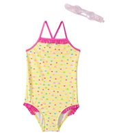 Jump N Splash Girls' Hearts One Piece w/FREE Goggles (4-6)