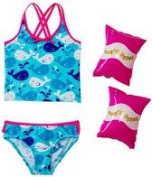 Jump N Splash Girls' Whale Crossback Tankini Set w/FREE Armband (2T-4T)