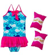 Jump N Splash Girls' Whale Tutu One Piece w/FREE Armband (2T-4T)