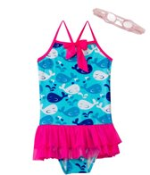 Jump N Splash Girls' Whale Tutu One Piece w/FREE Goggles (4-6)