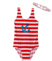 Jump N Splash Girls' Anchor One Piece w/FREE Goggles (4-6)