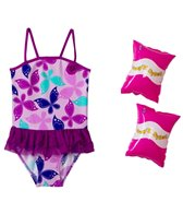 Jump N Splash Girls' Butterfly Tutu One Piece w/FREE Armband (2T-4T)