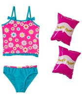 Jump N Splash Girls' Flower Power Tankini Set w/FREE Armband (2T-4T)