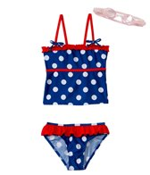 Jump N Splash Girls' Polka Dot Tankini Set w/FREE Goggles (4-6)