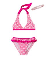 Jump N Splash Girls' Pink Polka Dot Bikini Set w/FREE Goggles (4-6)