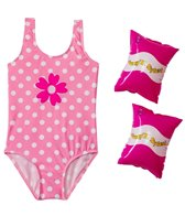 Jump N Splash Girls' Pink Polka Dot One Piece w/FREE Armband (2T-4T)