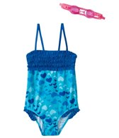 Jump N Splash Girls' Blue Heart Ruffle One Piece w/FREE Goggles (4-6)