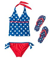 Jump N Splash Girls' Blue Polka Dot Halter Set w/FREE Flip Flops (7-14)