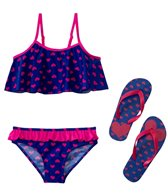 Jump N Splash Girls' Pink Hearts Bikini Set w/FREE Flip Flops (7-14)