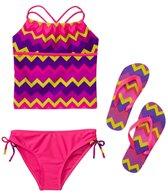 Jump N Splash Girls' Chevron Stripe Tankini Set w/FREE Flip Flops (7-14)