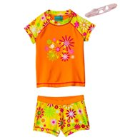 Jump N Splash Girls' Orange Flower S/S Rashguard Set w/FREE Goggles (4-12)