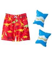 Jump N Splash Boys' Dinosaur Swim Trunk w/FREE Armband (2T-4T)