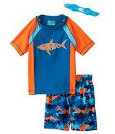 Jump N Splash Boys' Shark S/S Rashguard Set w/FREE Goggles (4-14)