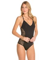 Laundry By Shelli Segal Crochet Rhapsody Criss Cross One Piece