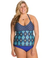 Kenneth Cole Reaction Plus Size Coastal Escapade U-Neck Tankini Top