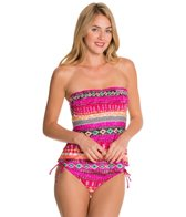 Kenneth Cole Reaction Get Rio Stripe Smocked Tankini Top