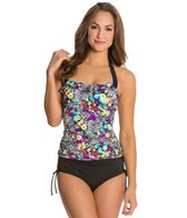 24th & Ocean Floral Side Shirred Bandeaukini Bikini Top