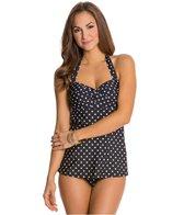 Jantzen Starboard Dot Twist Front Swim Dress