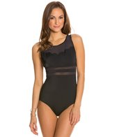 Jantzen Solid Scallop High Neck One Piece