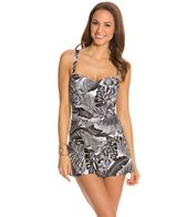 Jantzen Palm Reader Shirred Flounce Swim Dress
