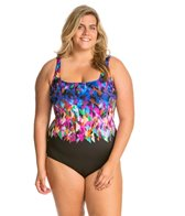 Gottex Plus Size Fire & Ice Square Neck Tank One Piece