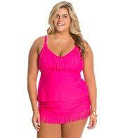 Jessica Simpson Plus Size Desert Fringe Tankini Top