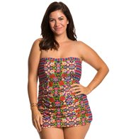 Jessica Simpson Plus Size Folkloric Front Shirred Bandeau Swimdress