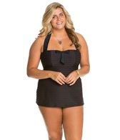 Jessica Simpson Plus Size Seashells Front Shirred Bandeau Swimdress