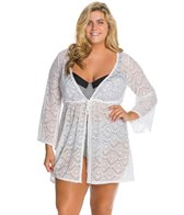 Jessica Simpson Plus Size Cut Out Crochet Tie Front Cover Up