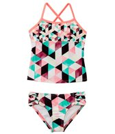 Hurley Girls' Prism Bandeau Top Tunnel Bottom Bikini Set (4T-6x)