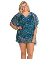 Delta Burke Plus Size Santorini Cover-Up W/ Beaded Detail