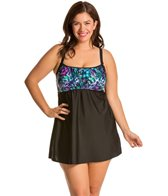 Delta Burke Plus Size Animal Garden Peasant Swimdress One Piece