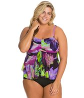 Fit4U Plus Size Emulsion Mesh Flared Bandeau Top