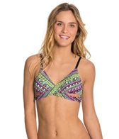 Bikini Lab Don't Worry Be Strappy Faux Wrap Bra Top