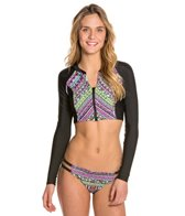 Bikini Lab Don't Worry Be Strappy Cropped L/S Zip Rashguard