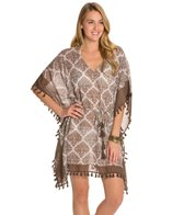 Tommy Bahama Floral Medallion Oversized Cover-Up Tunic W/ Tassels