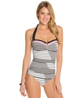 Tommy Bahama Slanted Stripes V Front Halter One Piece