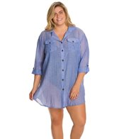 Dotti Plus Size Summer Camp Button Up Shirt Dress