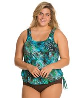 Topanga Plus Size Trinidad Mastectomy Tie Side Blouson Top
