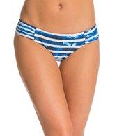 Seafolly Inked Stripe Ruched Side Bikini Bottom