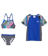 Speedo Girls' Poptical Stripes Rashguard Three Piece (7yrs-16yrs)