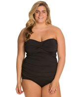 Sunsets Plus Size Black Shirred Tankini Top (D/DD)