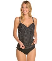 Swim Systems Mod Dot Onyx Shirred Underwire Tankini Top