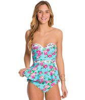 Betsey Johnson Garden Rose Bump Me Up Underwire Tankini Top