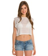 MINKPINK Sheer Stripe Crop Tee