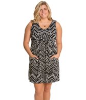 J.Valdi Plus Size ITY Prints Scoop Pocket Cover Up Dress